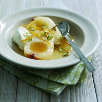 Honey-roast pears with orange-blossom and yoghurt