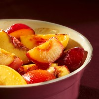 Roasted stone fruits with vanilla